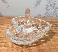 Heart Shaped Glass Ring Holder Jewellery Trinket Dish